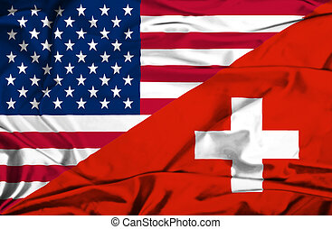 Waving flag of Switzerland and USA