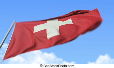 Waving flag of Switzerland, low angle view. Loopable slow motion 3D animation