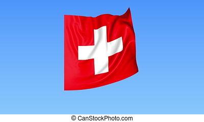 Waving flag of Switzerland, seamless loop. Exact size, blue...