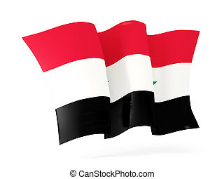 Waving flag of syria. 3D illustration