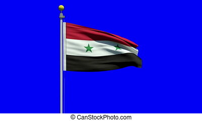 Waving Flag Of Syria With Two Green Stars Representing Syria And