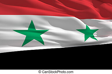 Waving flag of Syria - Fluttering flag of Syria on the wind