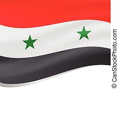 Waving flag of Syria isolated on white