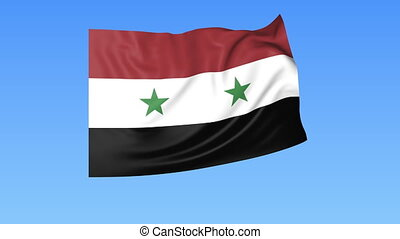 Waving flag of Syria, seamless loop. Exact size, blue...