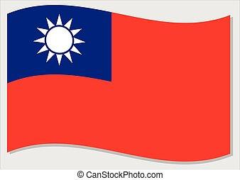 Waving flag of Taiwan vector graphic. Waving Taiwanese flag ...