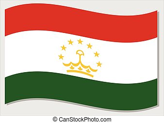 Waving flag of Tajikistan vector graphic. Waving Tajikistani flag illustration. Tajikistan country flag wavin in the wind is a symbol of freedom and independence.