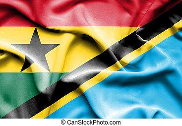 Waving flag of Tanzania and Ghana