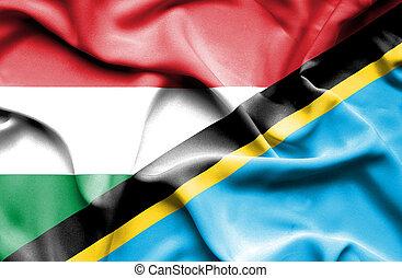 Waving flag of Tanzania and Hungary