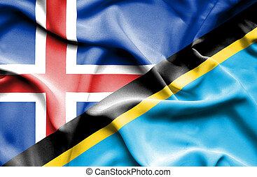 Waving flag of Tanzania and Iceland