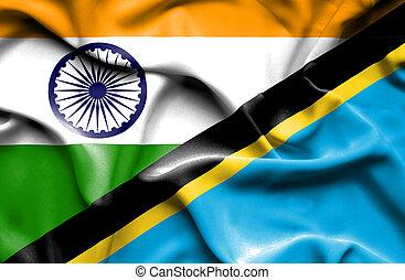 Waving flag of Tanzania and India