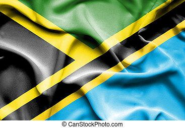 Waving flag of Tanzania and Jamaica