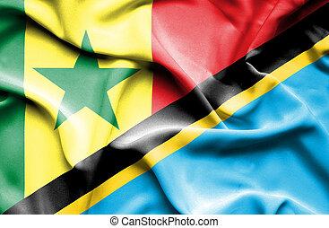 Waving flag of Tanzania and Senegal