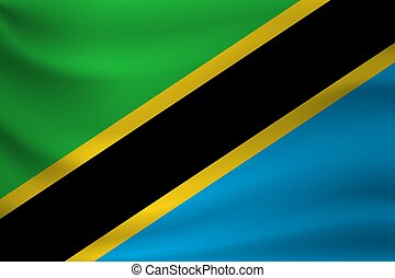 Waving flag of Tanzania. Vector illustration