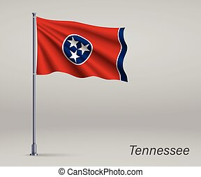 Waving flag of Tennessee - state of United States on flagpole. Template for independence day poster design