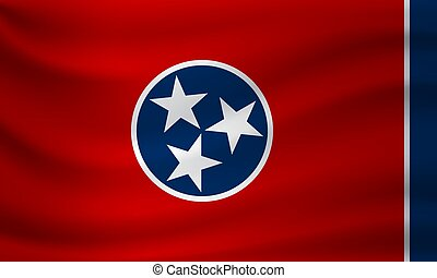 Waving flag of Tennessee. Vector illustration