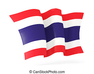 Waving flag of thailand. 3D illustration