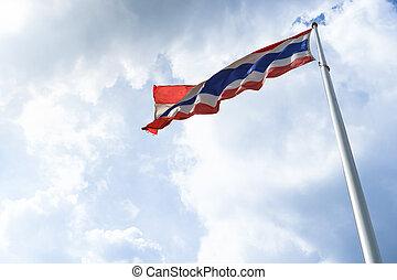 Waving flag of Thailand on blue sky