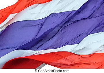 Waving flag of Thailand on white background