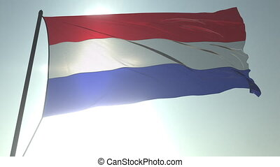Waving flag of the Netherlands against shining sun and sky. Realistic loopable 3D animation