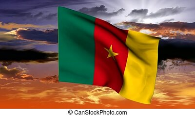Waving flag of the Republic of Cameroon (Africa)
