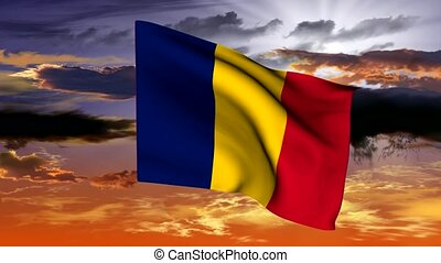 Waving flag of the Republic of Ciad