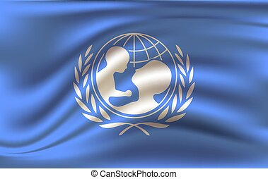 Waving flag of the Unicef