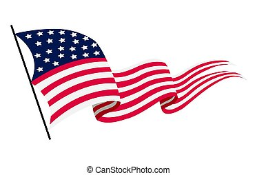 Waving flag of the United States of America. Illustration of wavy American Flag. National symbol, American flag on white background - vector illustration
