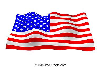 Waving flag of the United States of America. Stars and Stripes. State symbol of the USA