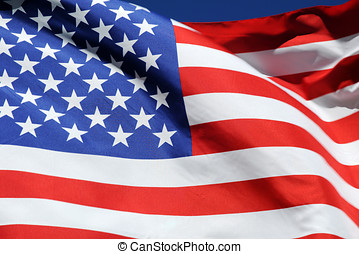 Waving flag of the United States of America - Close-up of...