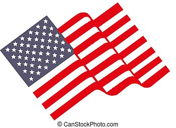 Waving flag of the United States. vector illustration.