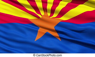 Waving Flag Of The US State of Arizona