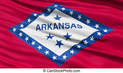 Waving Flag Of The US State Of Arkansas with a central diamond which depicted the fact that the state was the only diamond bearing state, a status which has now changed with modern finds.