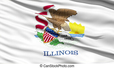 Waving Flag Of The US State of Illinois with the state seal...