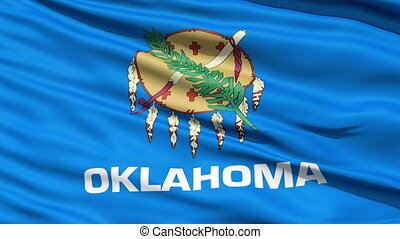Waving Flag Of The US State of Oklahoma with a traditional...