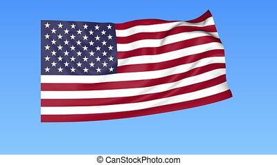 Waving flag of the USA, seamless loop. Exact size, blue...