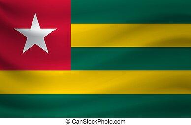 Waving flag of Togo. Vector illustration