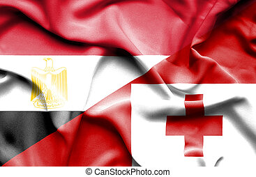 Waving flag of Tonga and Egypt