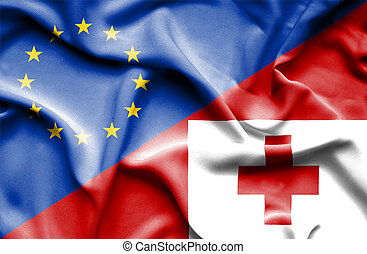 Waving flag of Tonga and EU
