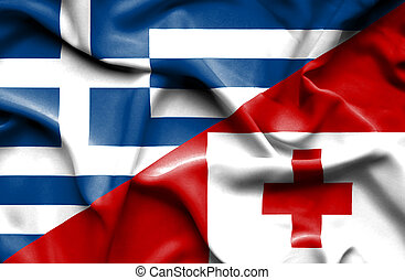 Waving flag of Tonga and Greece