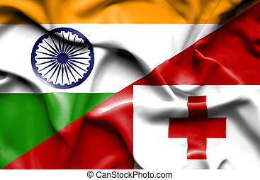 Waving flag of Tonga and India