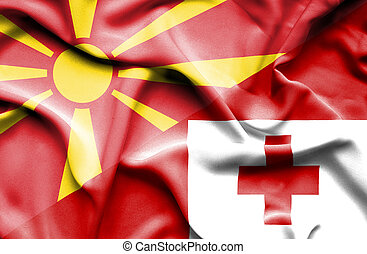 Waving flag of Tonga and Macedonia