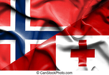 Waving flag of Tonga and Norway