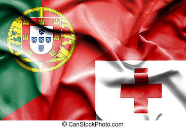 Waving flag of Tonga and Portugal