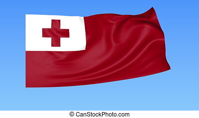 Waving flag of Tonga, seamless loop. Exact size, blue background. Part of all countries set. 4K ProRes with alpha