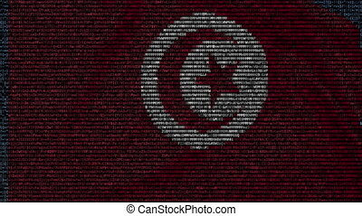 Waving flag of Tunisia made of text symbols on a computer...