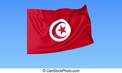Waving flag of Tunisia, seamless loop. Exact size, blue...