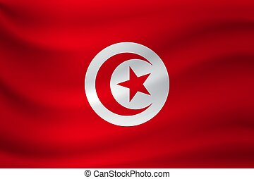 Waving flag of Tunisia. Vector illustration
