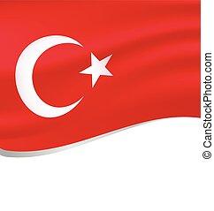 Waving flag of turkey isolated on white