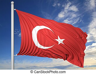 Waving flag of Turkey on flagpole, on blue sky background.