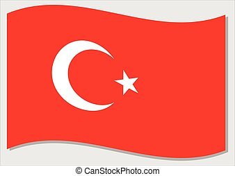 Waving flag of Turkey vector graphic. Waving Turkish flag illustration. Turkey country flag wavin in the wind is a symbol of freedom and independence.